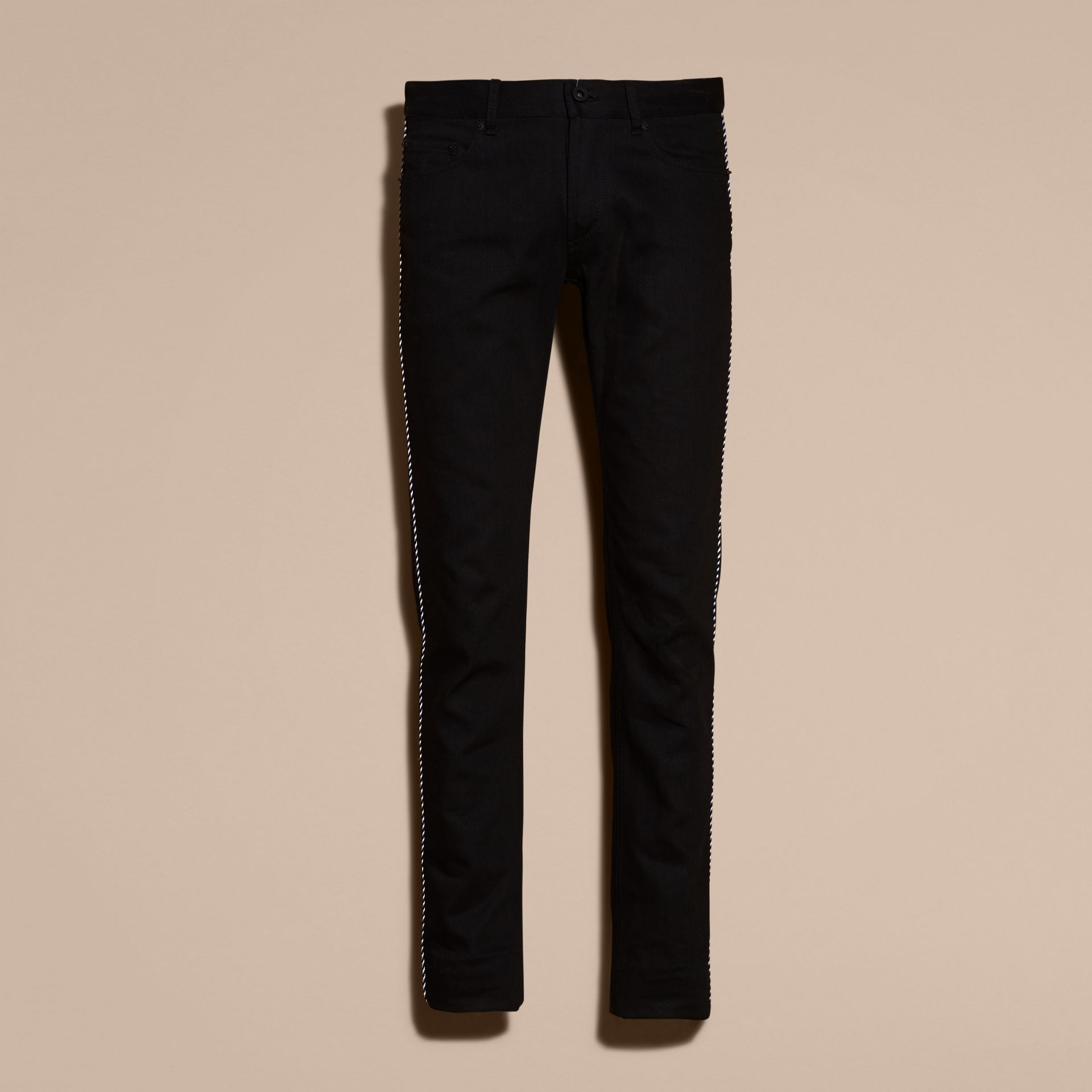 Black Skinny Fit Regimental Jeans - gallery image 4