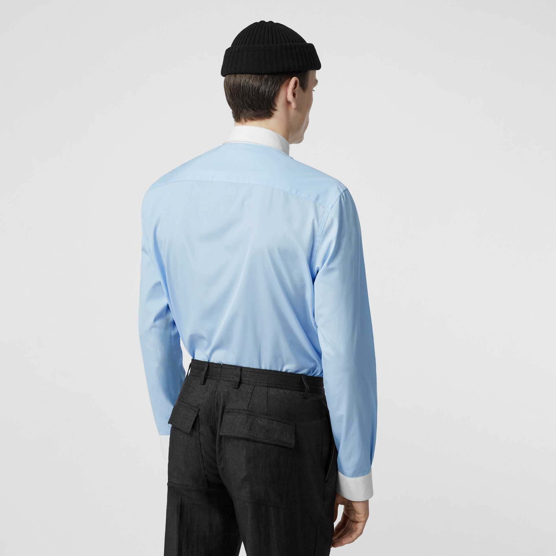 Classic Fit Zip Detail Cotton Poplin Shirt in Pale Blue - Men | Burberry Australia - gallery image 2