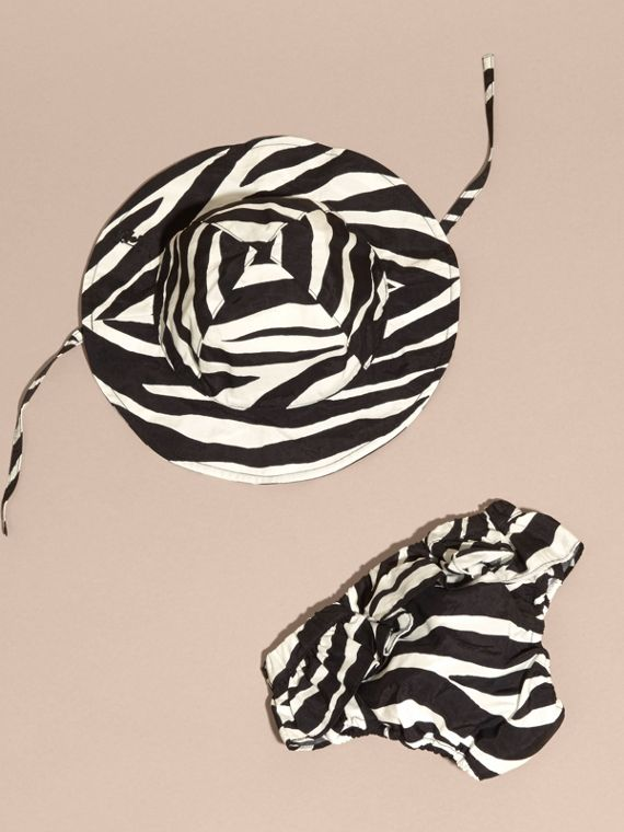 Black Zebra Print Swimwear and Hat Set - cell image 3