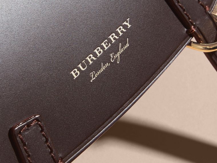 The Baby Bridle Bag in Leather and Haymarket Check in Dark Clove Brown - Women | Burberry Singapore - cell image 1