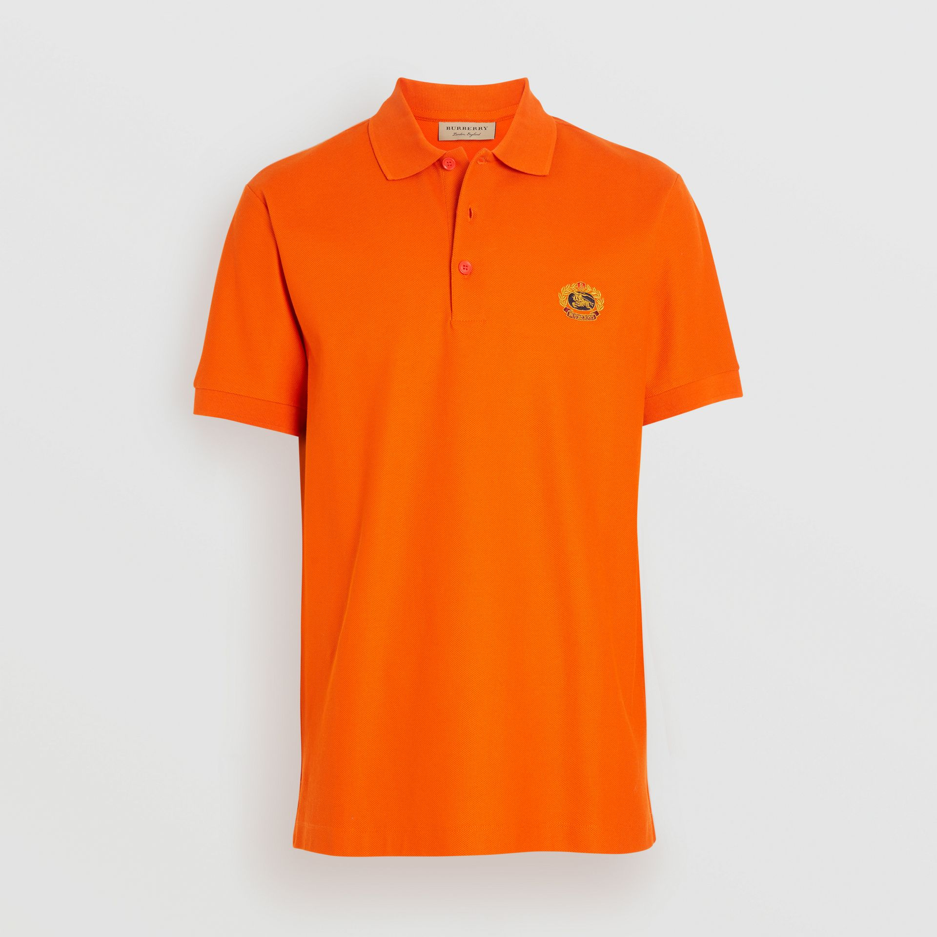 Archive Logo Cotton Piqué Polo Shirt in Clementine - Men | Burberry - gallery image 3