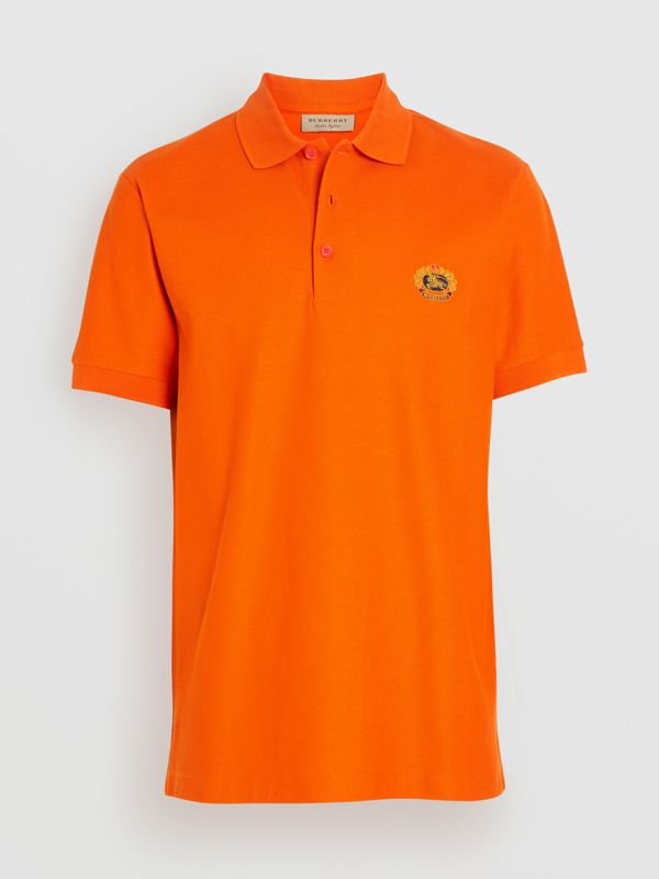 Archive Logo Cotton Piqué Polo Shirt in Clementine - Men | Burberry - cell image 3
