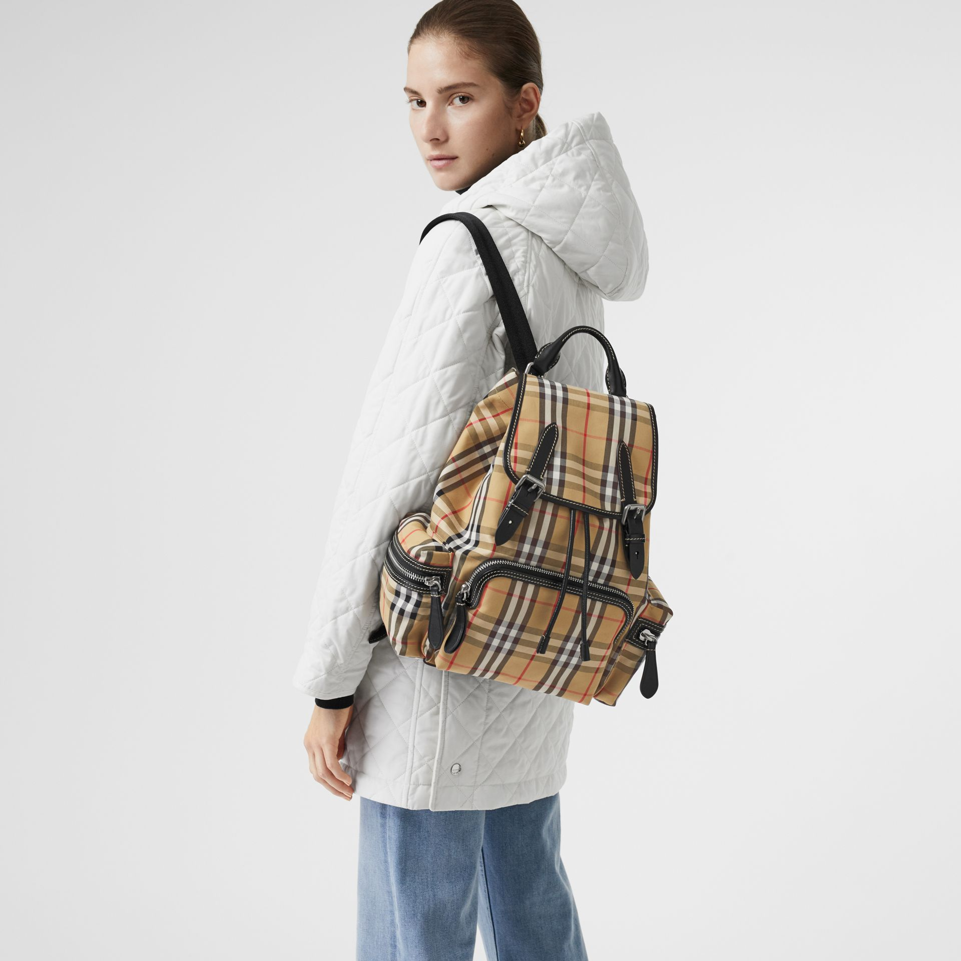 The Medium Rucksack in Vintage Check Cotton Canvas in Antique Yellow - Women | Burberry - gallery image 5