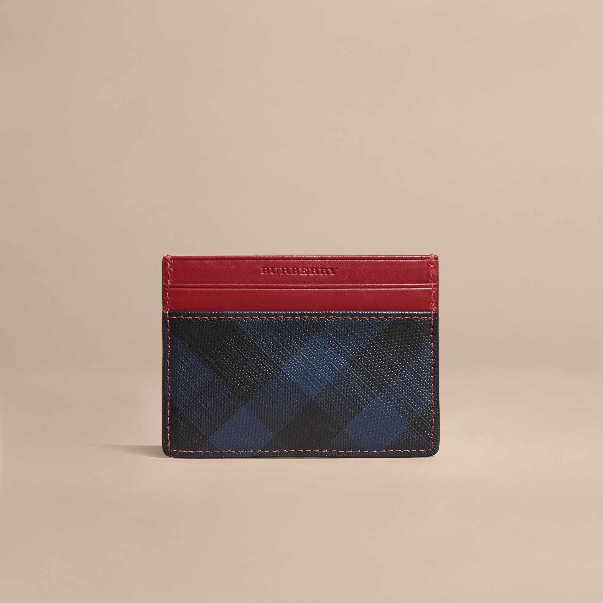 London Check and Leather Card Case in Parade Red - gallery image 6