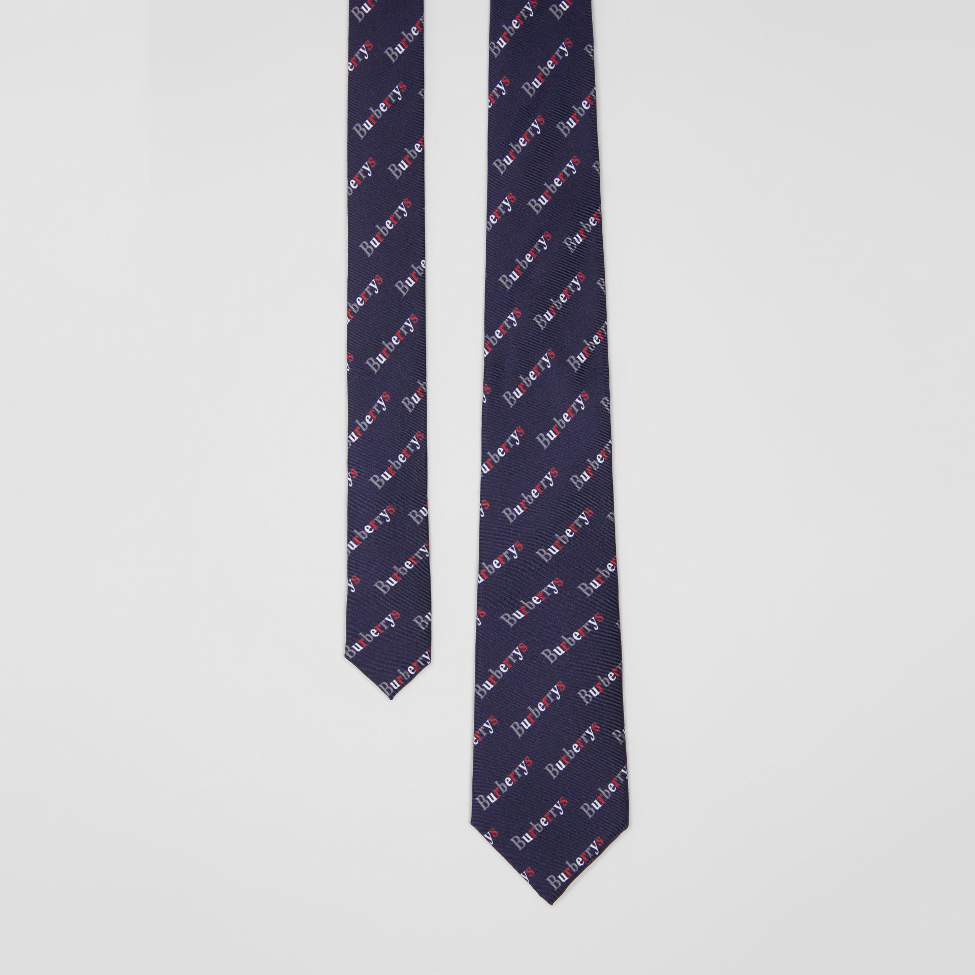 Modern Cut Archive Logo Print Silk Tie in Navy - Men | Burberry - gallery image 0