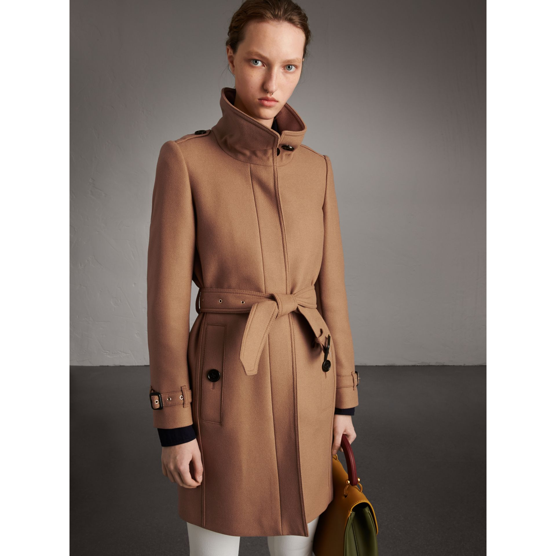 Technical Wool Cashmere Funnel Neck Coat in Camel - Women | Burberry United States - gallery image 1
