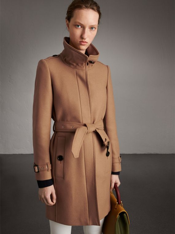 Technical Wool Cashmere Funnel Neck Coat in Camel - Women | Burberry