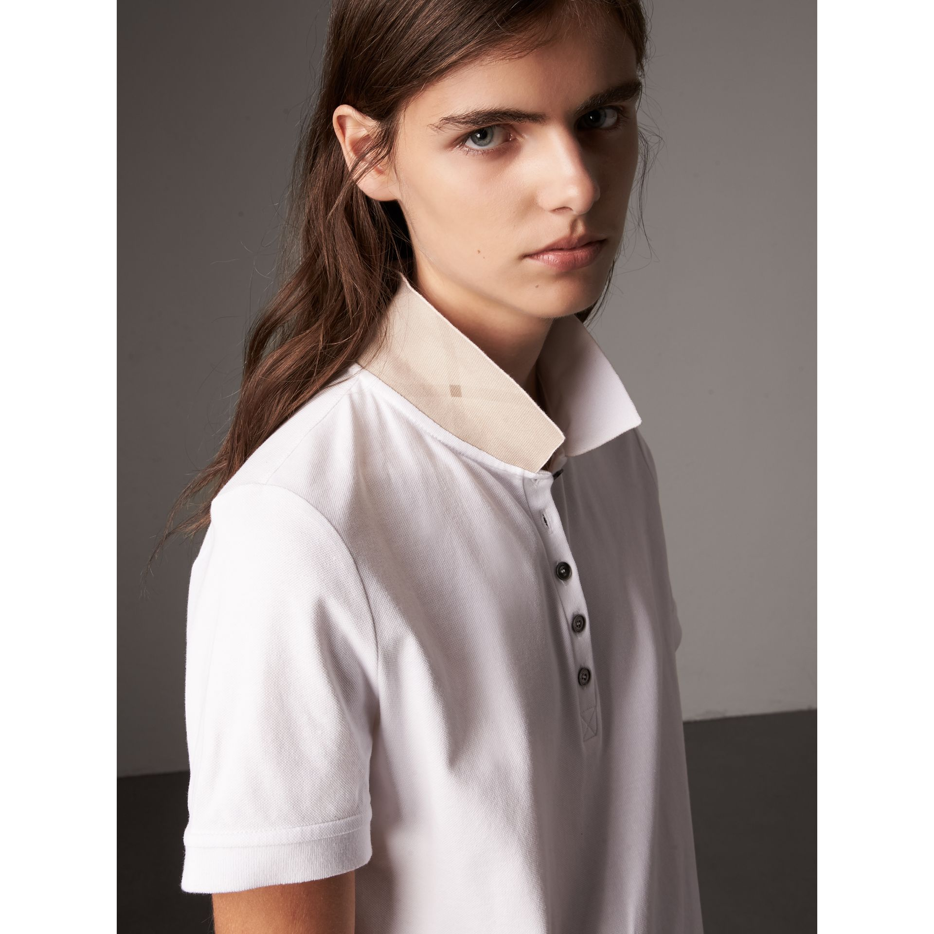 Check Trim Stretch Cotton Piqué Polo Shirt in White - Women | Burberry - gallery image 2