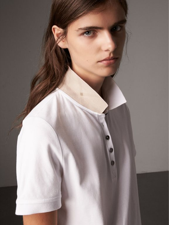 Check Trim Stretch Cotton Piqué Polo Shirt in White - Women | Burberry - cell image 1