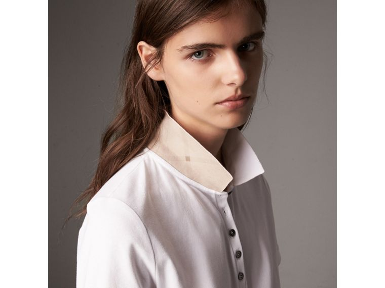 Check Trim Stretch Cotton Piqué Polo Shirt in White - Women | Burberry United States - cell image 1