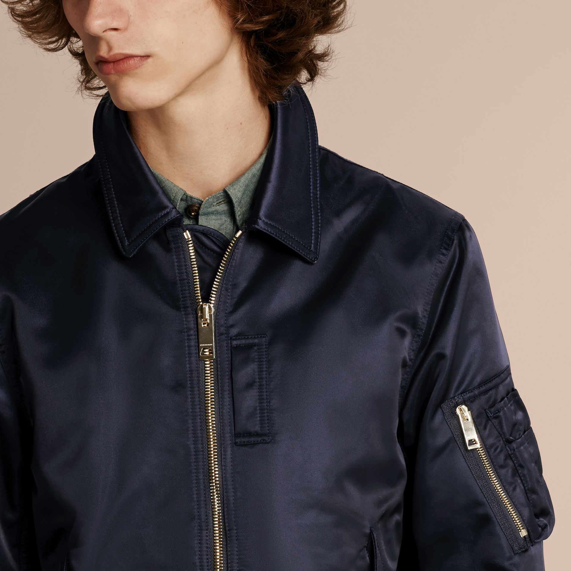 Satin Bomber Jacket with Check Undercollar Navy - gallery image 6
