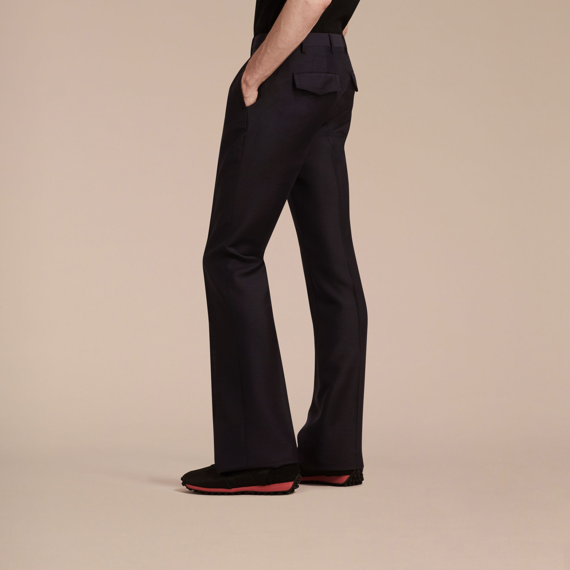 Navy Wide Leg Mohair Wool Tailored Trousers - gallery image 3