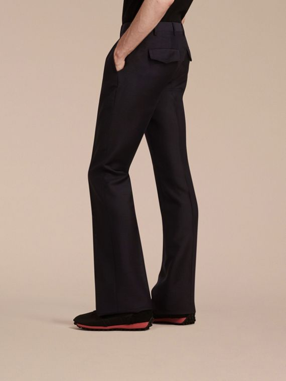 Navy Wide Leg Mohair Wool Tailored Trousers - cell image 2
