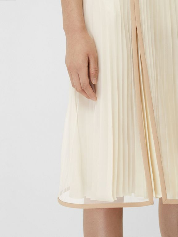 Chiffon Panel Silk Pleated Skirt in Magnolia - Women | Burberry - cell image 1