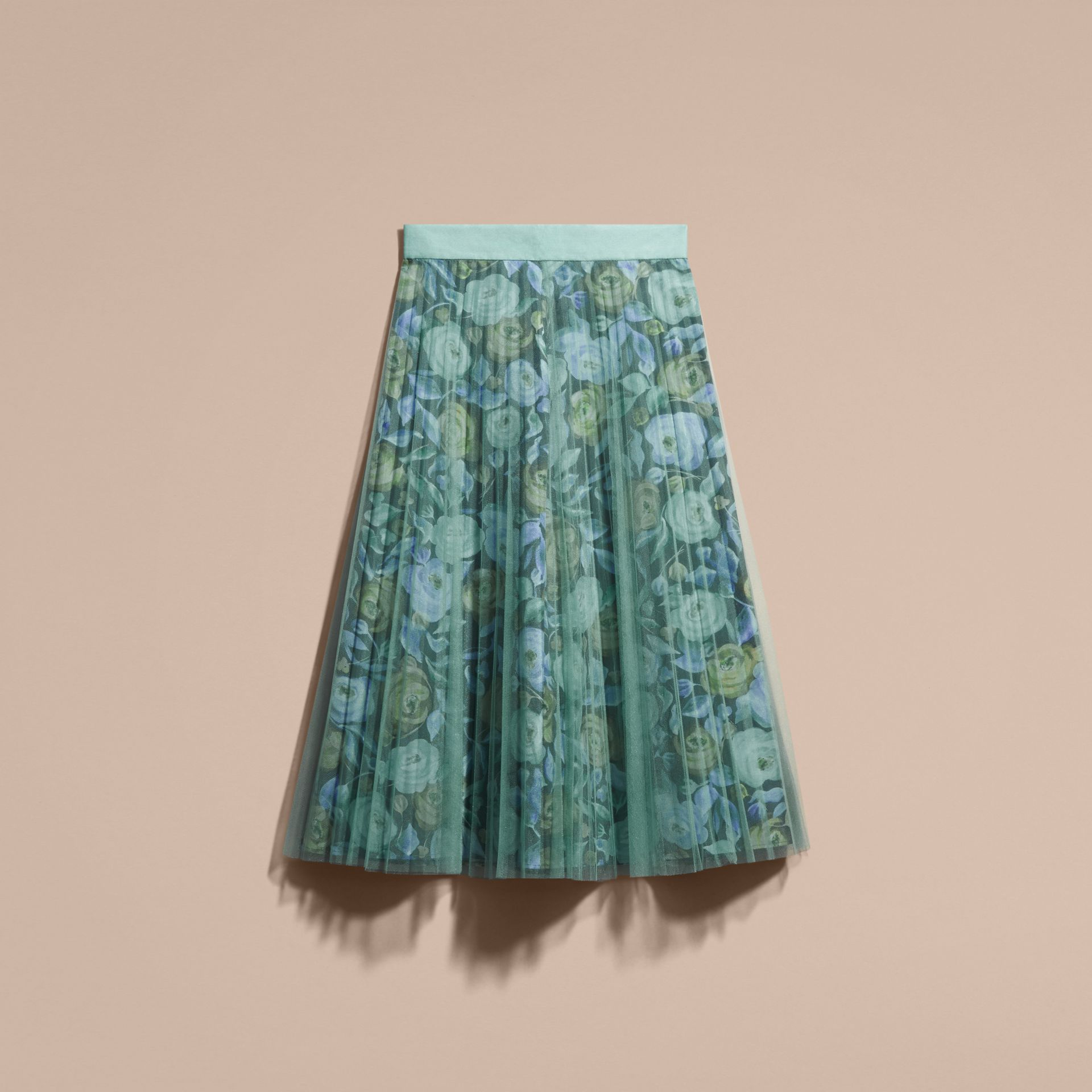 Watercolour Rose Print and Pleated Tulle Skirt in Aqua Green - gallery image 4