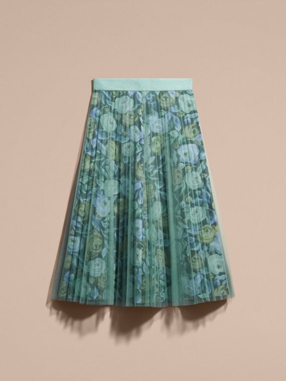 Watercolour Rose Print and Pleated Tulle Skirt in Aqua Green - cell image 3