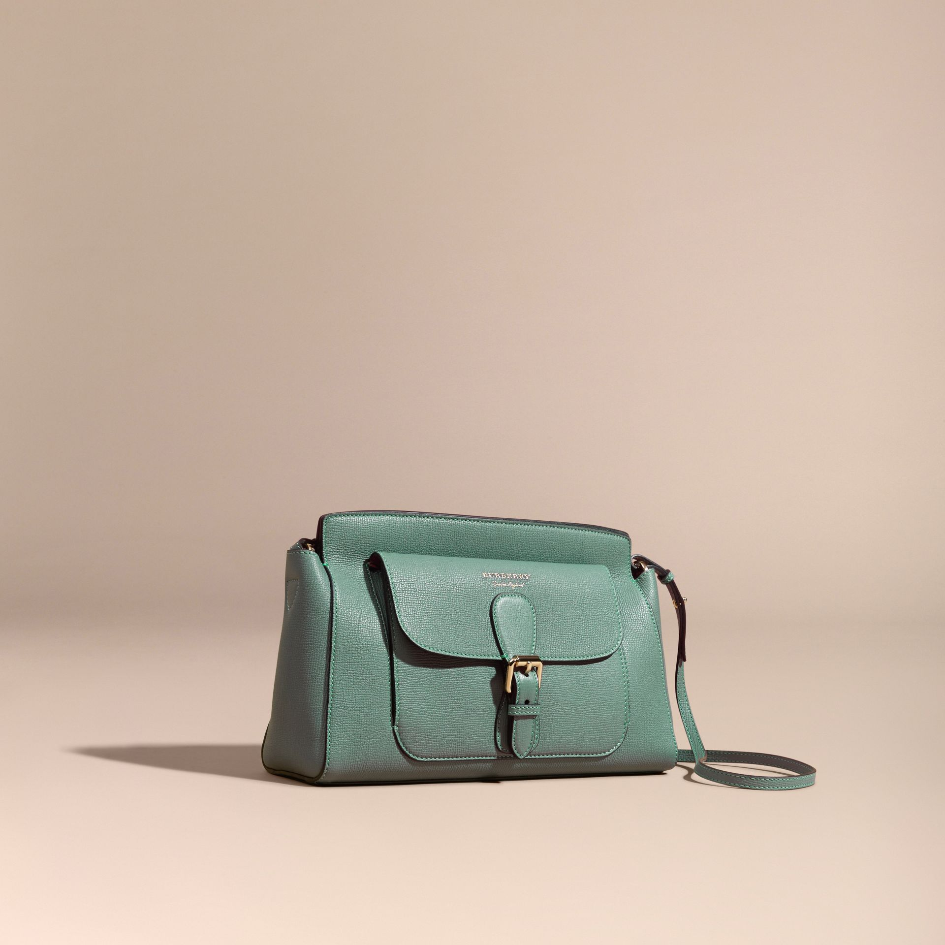 Smokey green The Saddle Clutch in Grainy Bonded Leather Smokey Green - gallery image 1