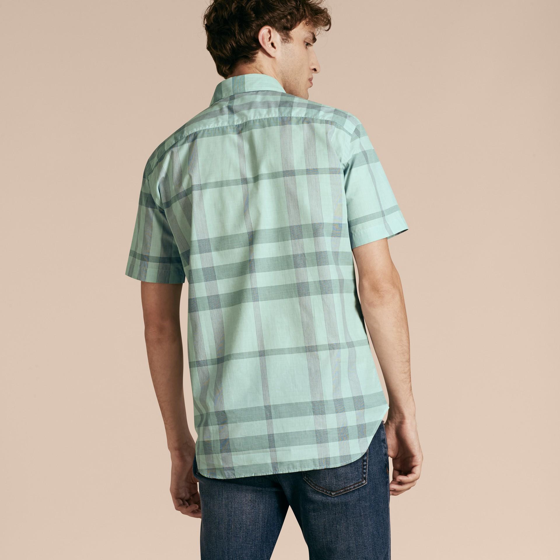 유칼립투스 그린 쇼트 슬리브 체크 코튼 셔츠 유칼립투스 그린 - 갤러리 이미지 3
