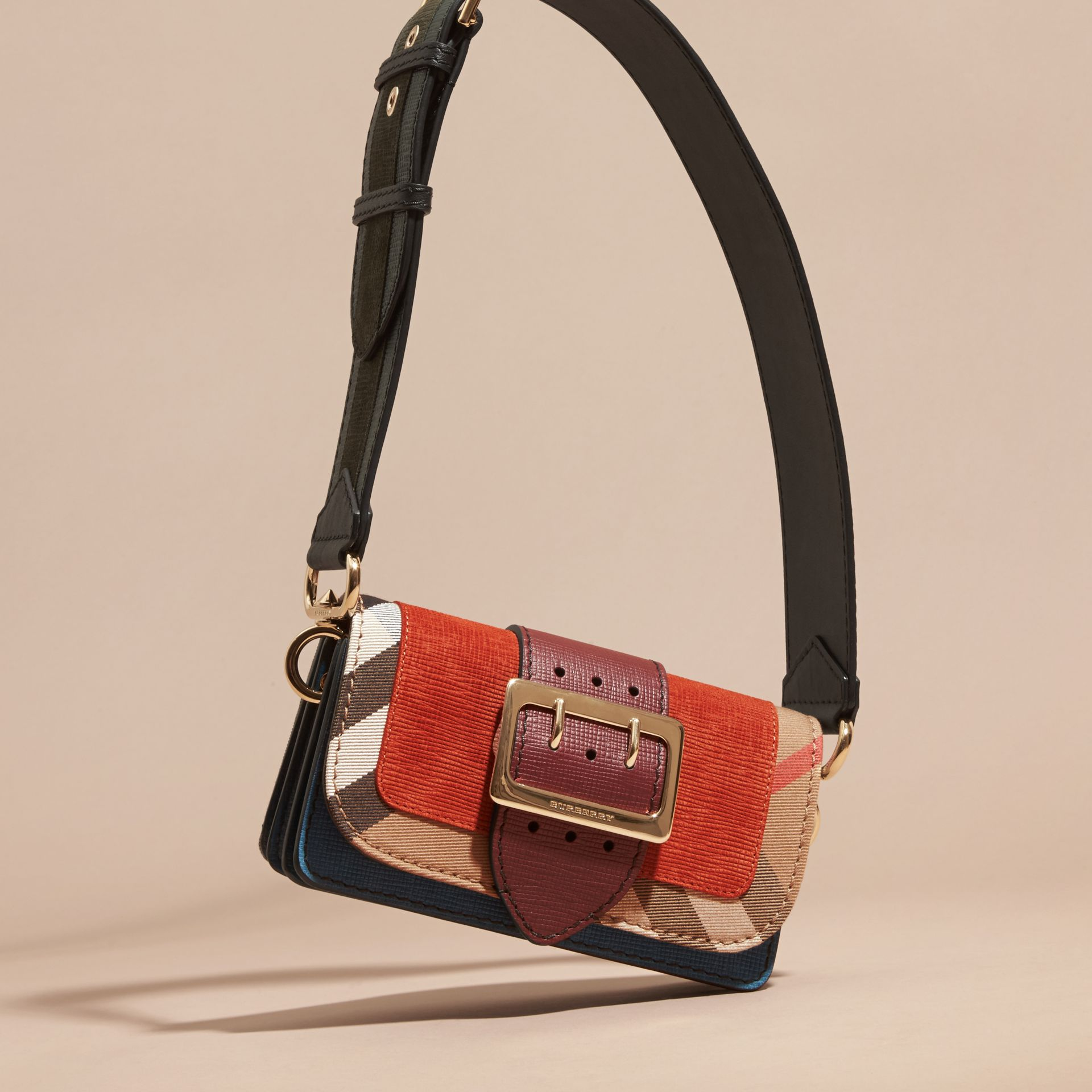 The Small Buckle Bag in Suede and House Check in Burnt Sienna - gallery image 8
