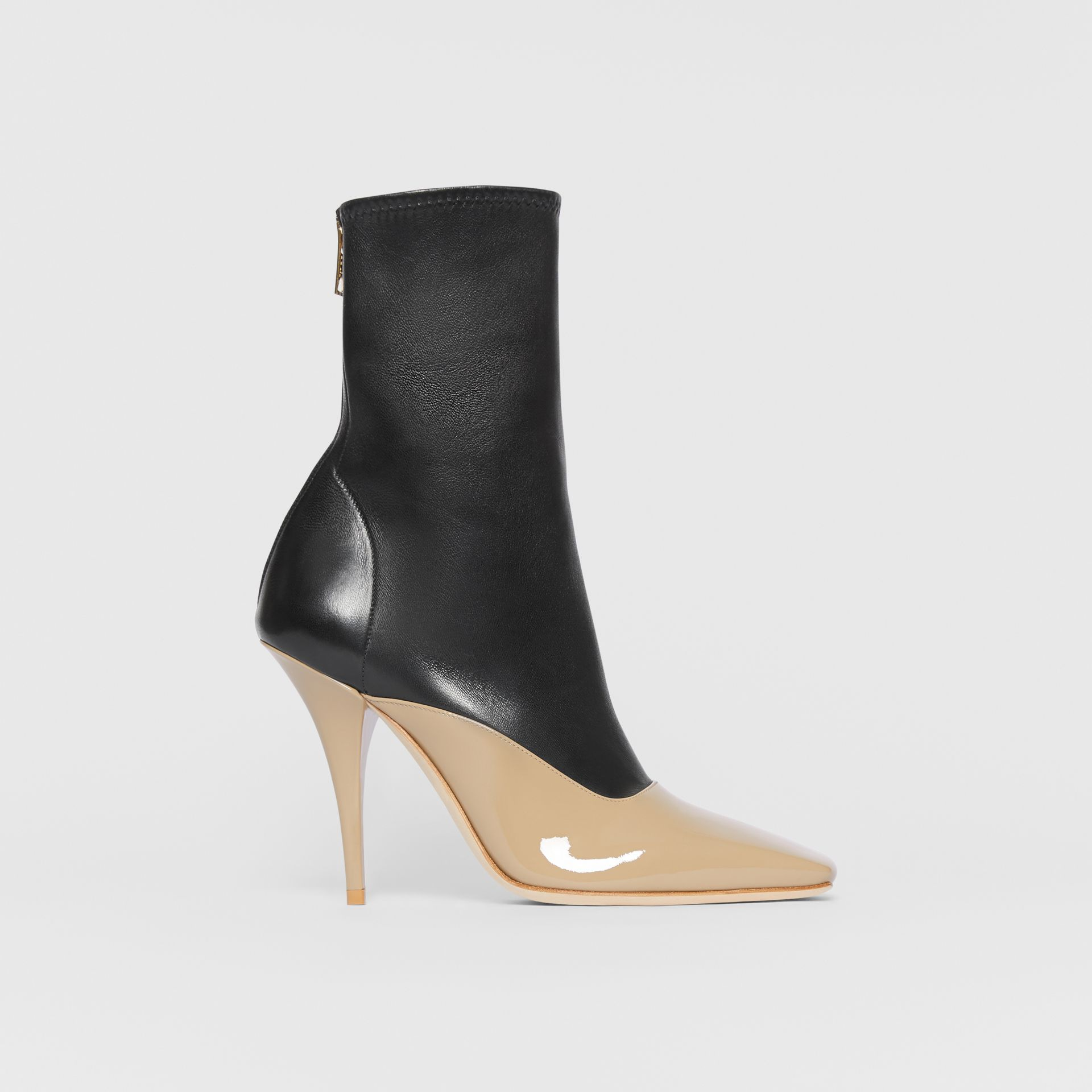 Two-tone Lambskin and Patent Leather Ankle Boots in Dark Honey/black - Women | Burberry - gallery image 5