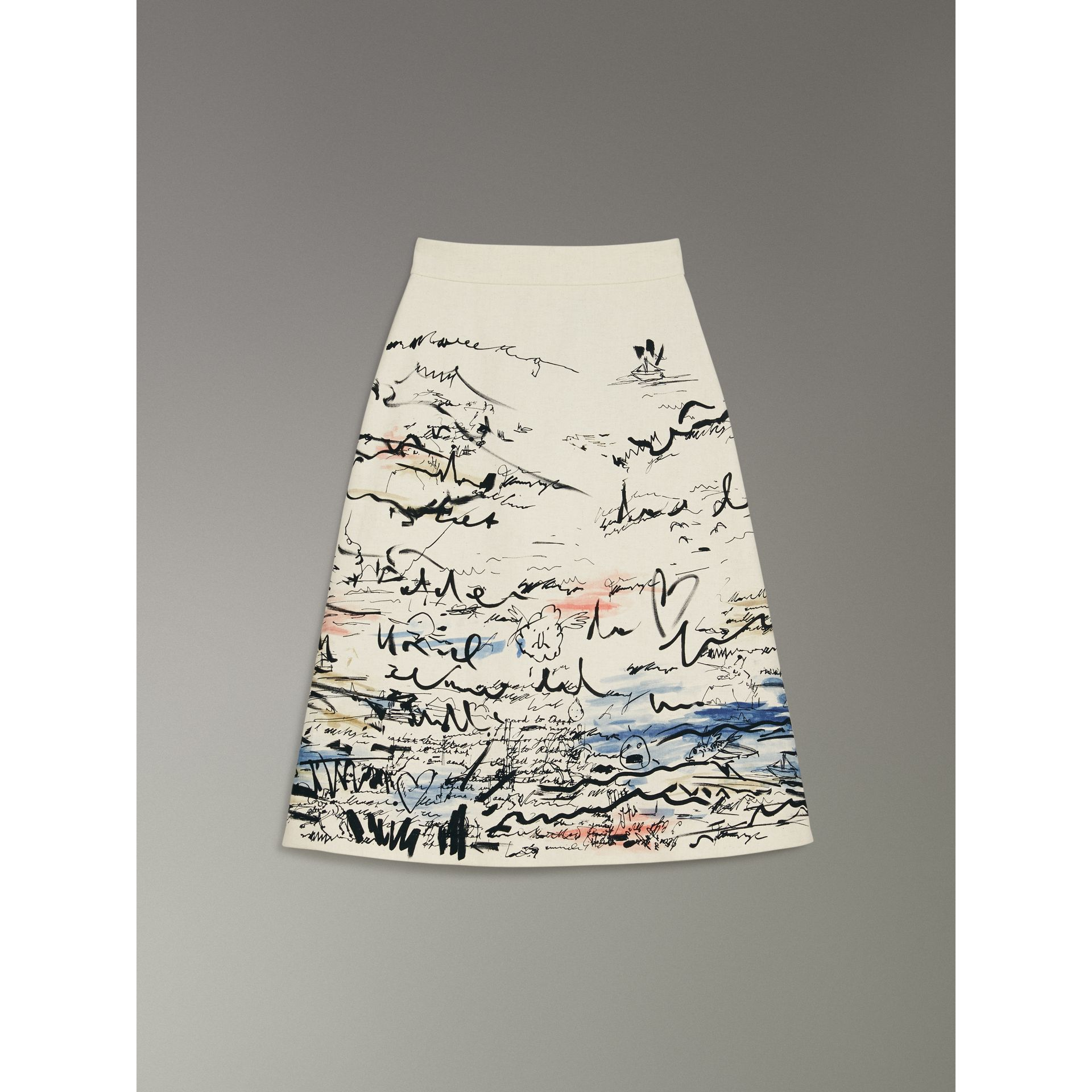 Coastal Print Cotton Linen A-line Skirt in Natural White - Women | Burberry United Kingdom - gallery image 3