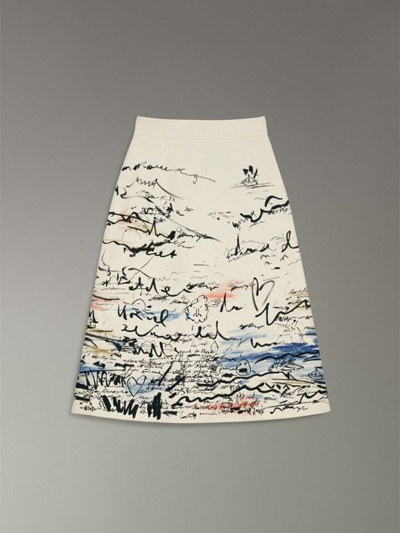 Coastal Print Cotton Linen A-line Skirt in Natural White - Women | Burberry United Kingdom - cell image 3