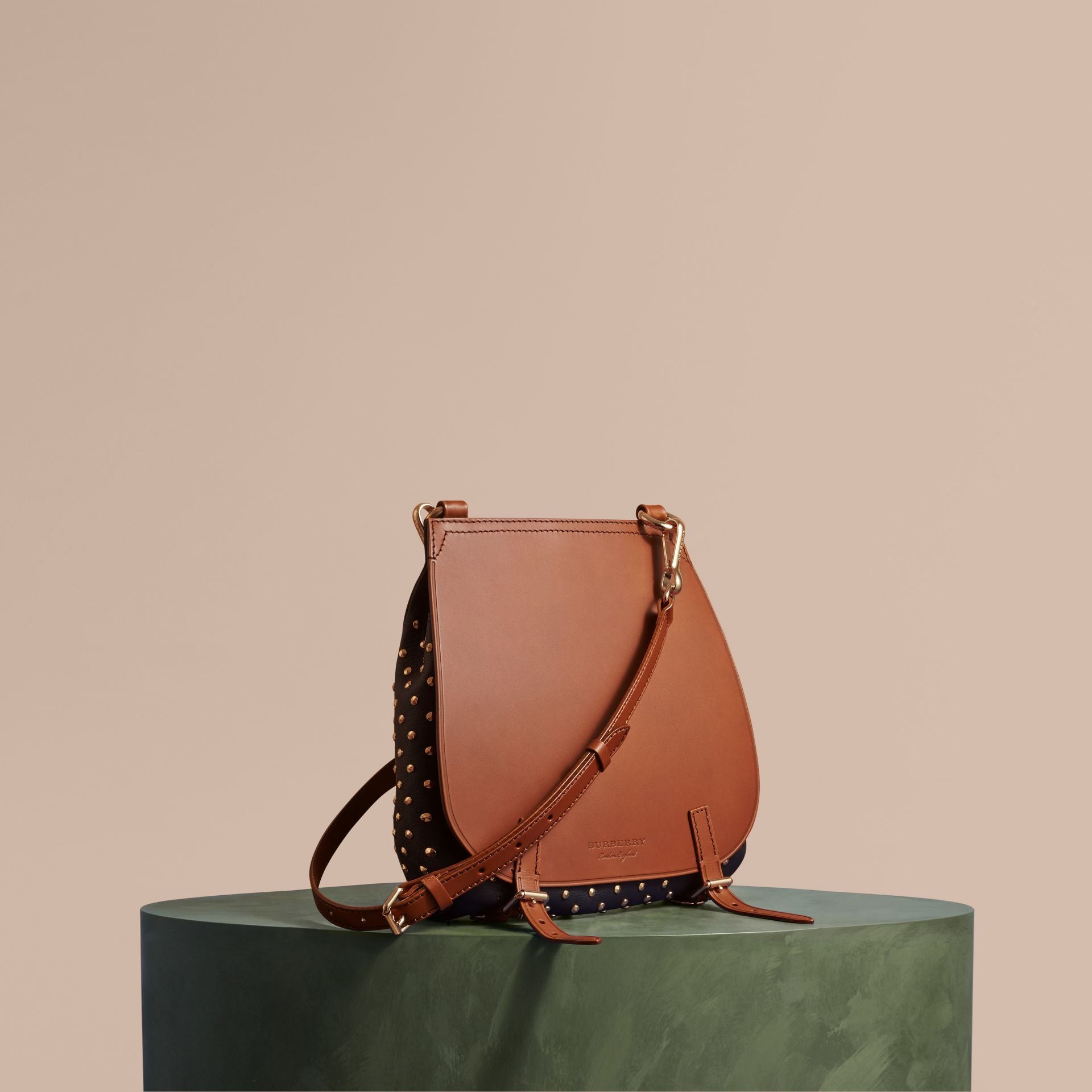 Tan The Small Bridle Bag in Riveted Leather - gallery image 1