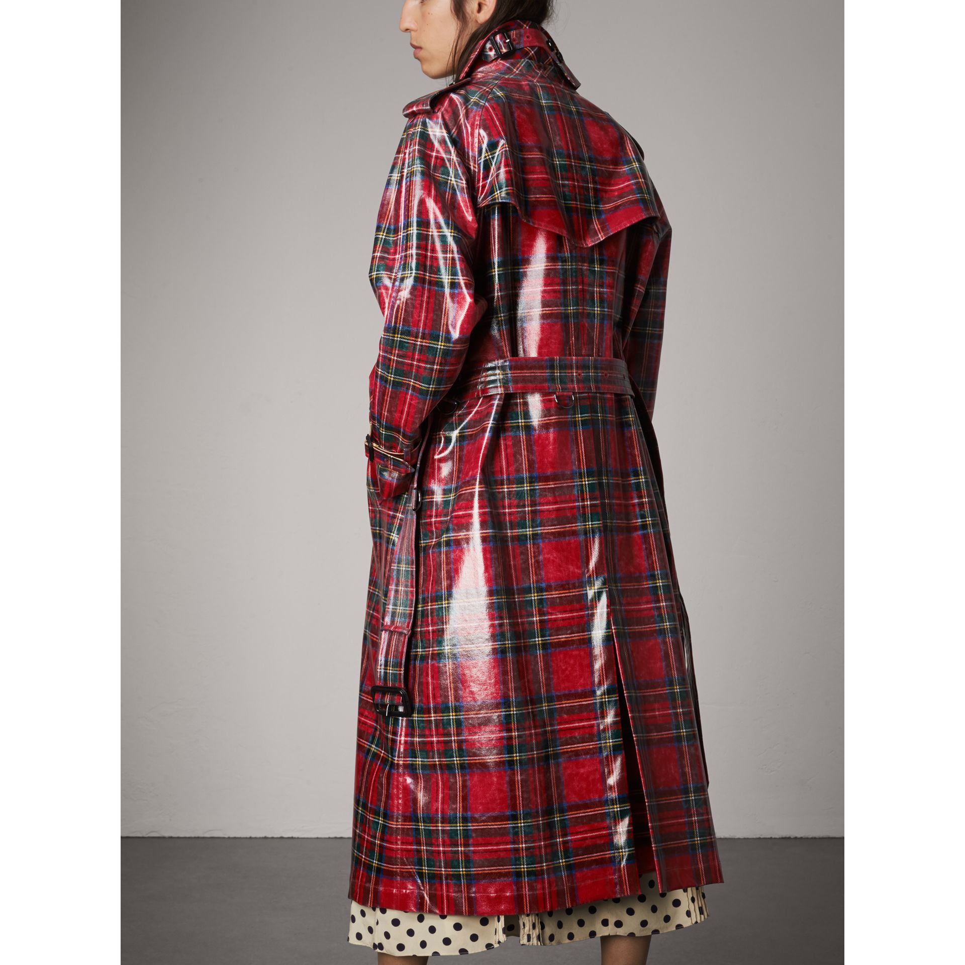 Laminated Tartan Wool Trench Coat in Bright Red - Women | Burberry United Kingdom - gallery image 2