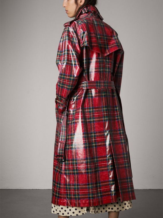 Laminated Tartan Wool Trench Coat in Bright Red - Women | Burberry United Kingdom - cell image 2