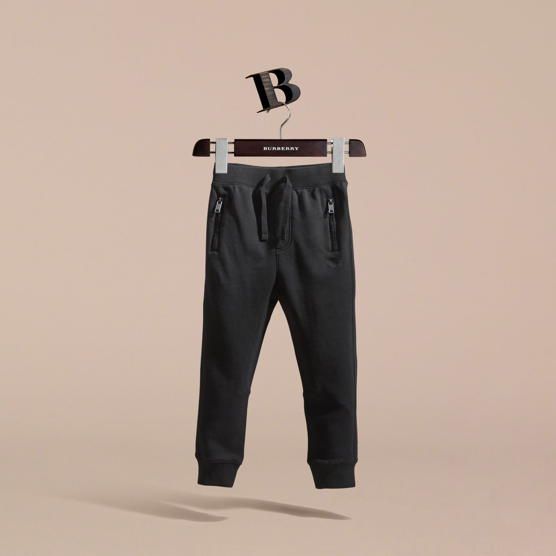 Drawcord Cotton Sweatpants in Black - Boy | Burberry - gallery image 3