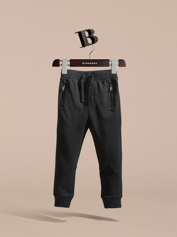 Drawcord Cotton Sweatpants in Black - Boy | Burberry - cell image 2