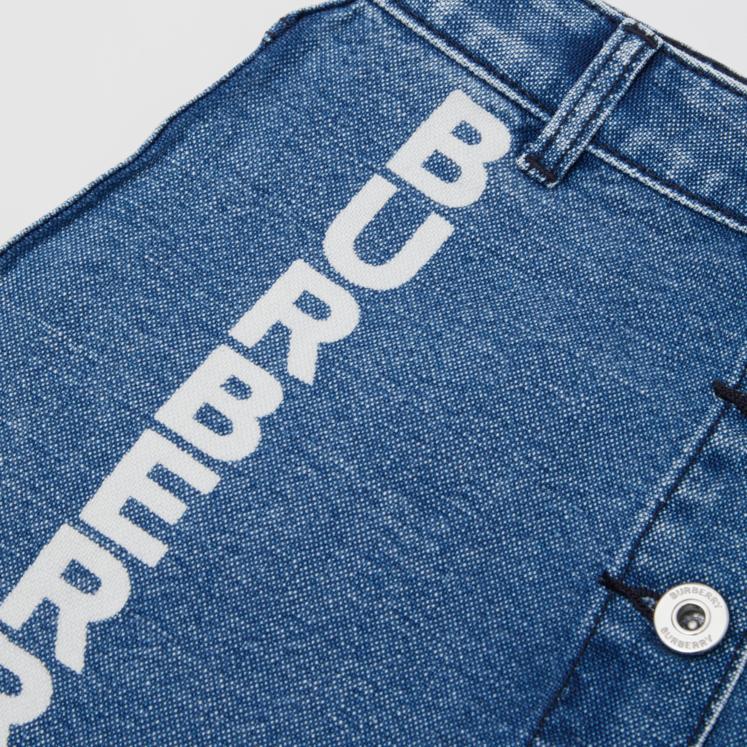 Logo Print Japanese Denim Skirt in Indigo - Girl | Burberry - 2