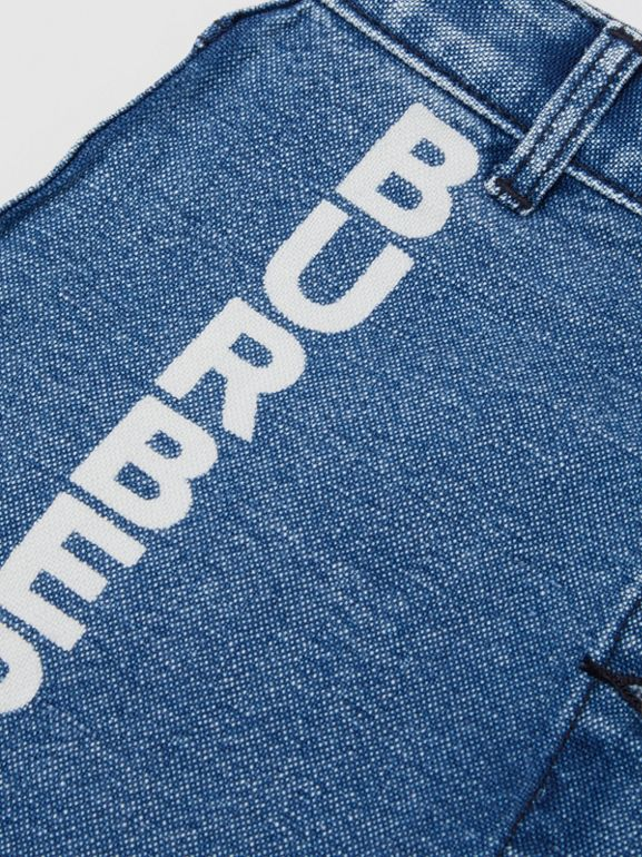 Saia de tecido jeans japonês com estampa de logotipo (Índigo) | Burberry - cell image 1