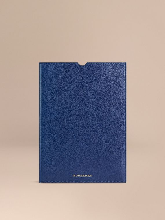 Custodia per iPad in pelle a grana Navy Intenso