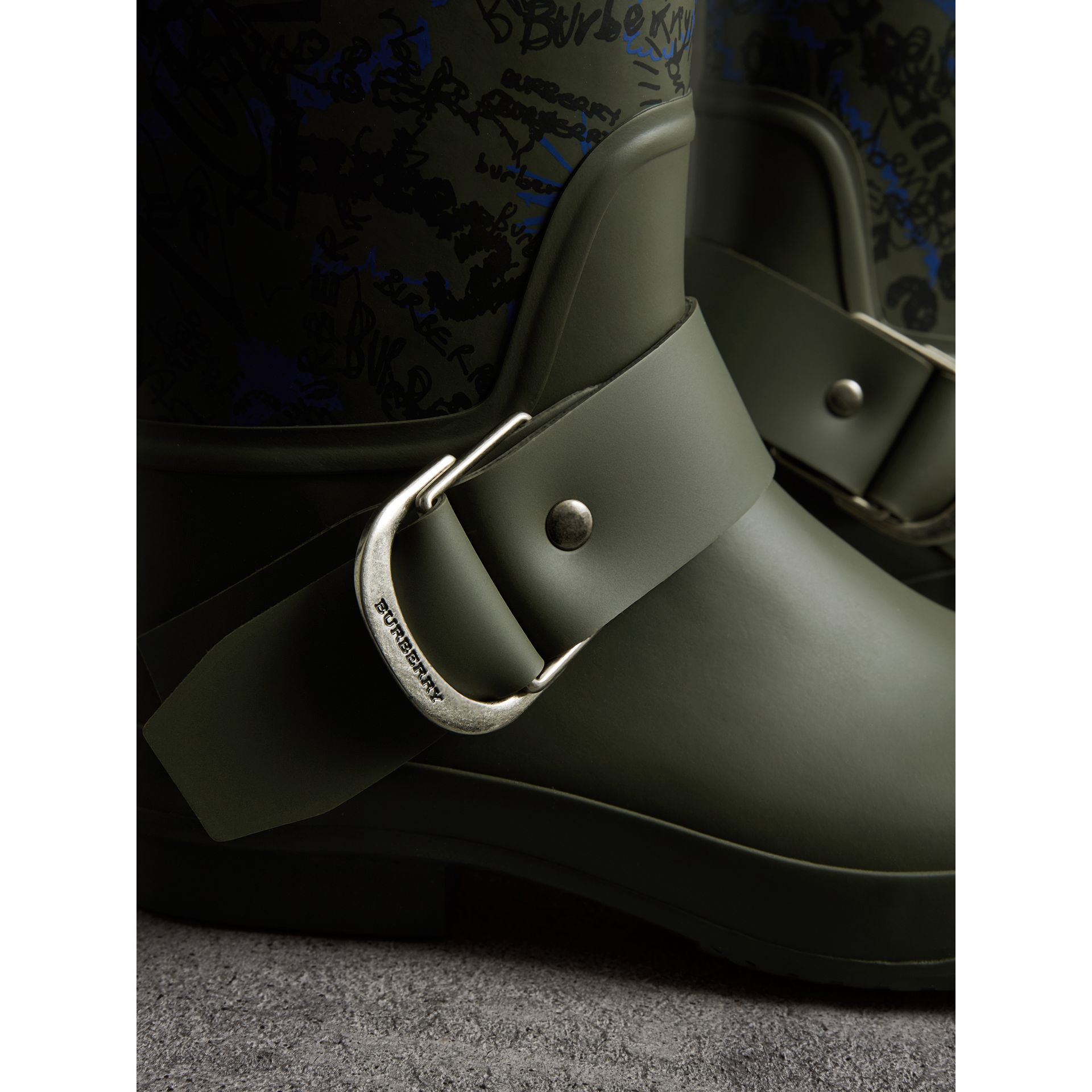Doodle Print Rubber Rain Boots in Military Green - Men | Burberry United States - gallery image 2