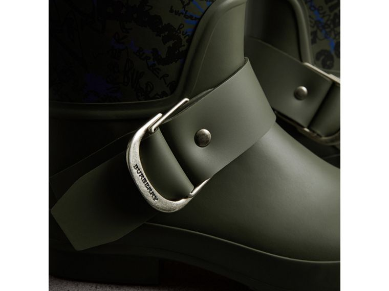 Doodle Print Rubber Rain Boots in Military Green - Men | Burberry - cell image 1