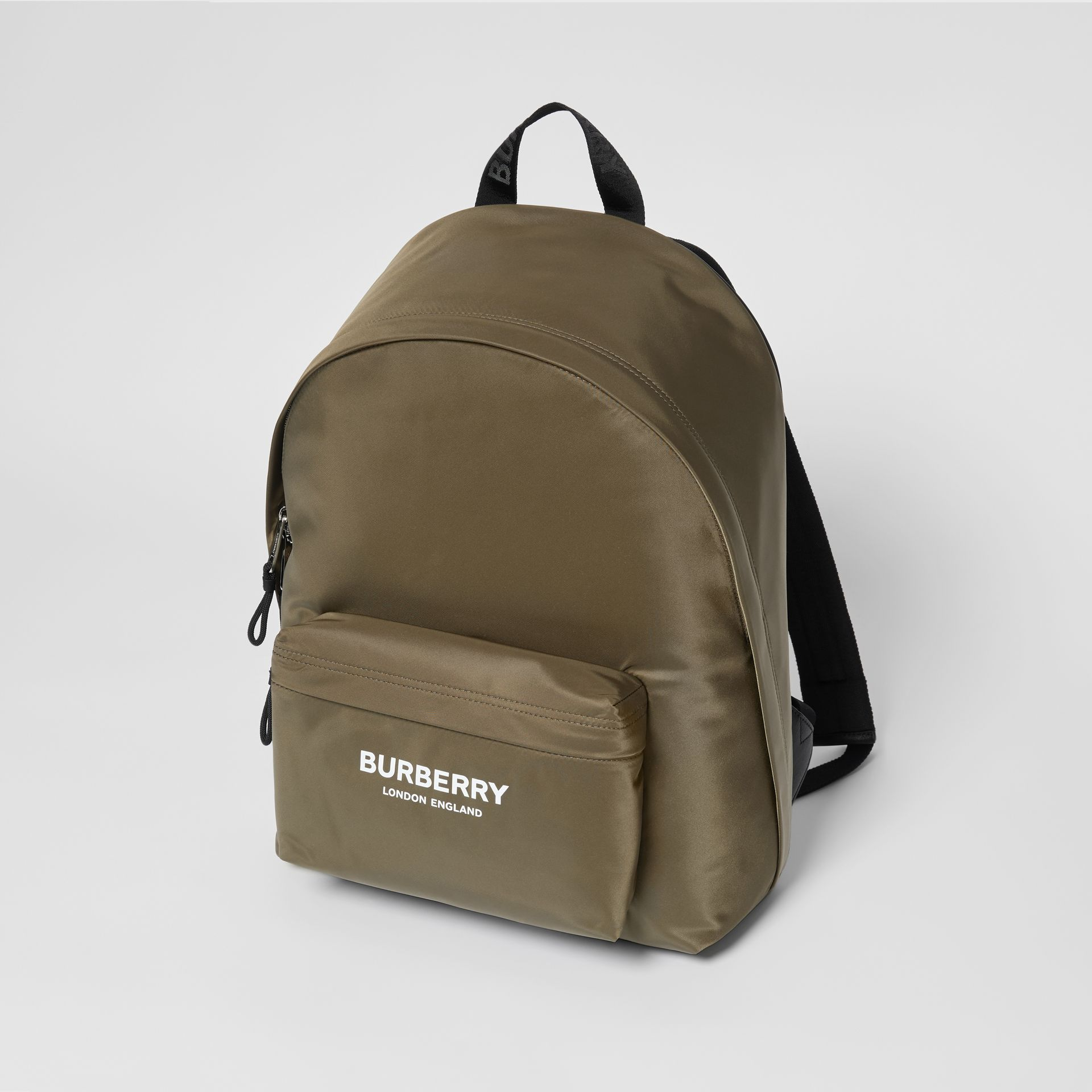 Logo Print Nylon Backpack in Canvas Green - Men | Burberry United Kingdom - gallery image 1