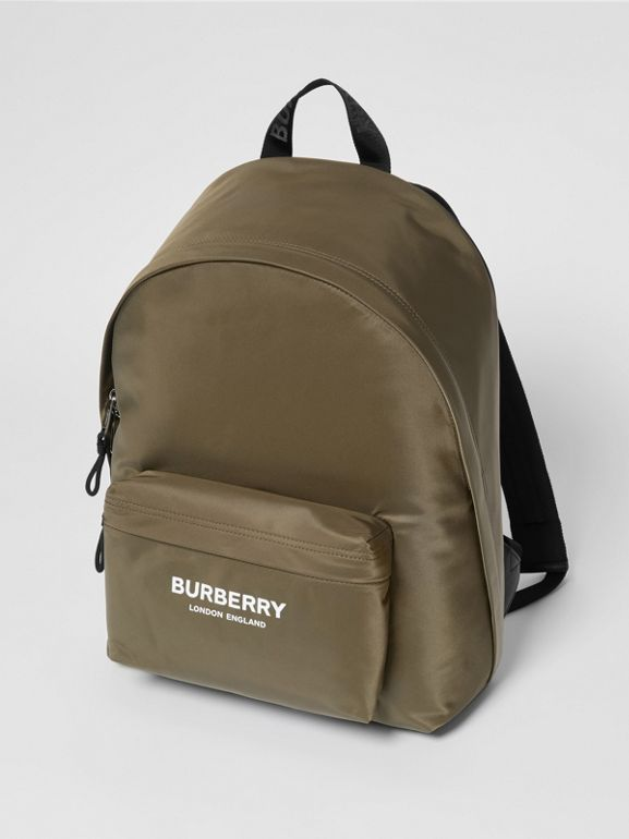 Logo Print Nylon Backpack in Canvas Green - Men | Burberry - cell image 1