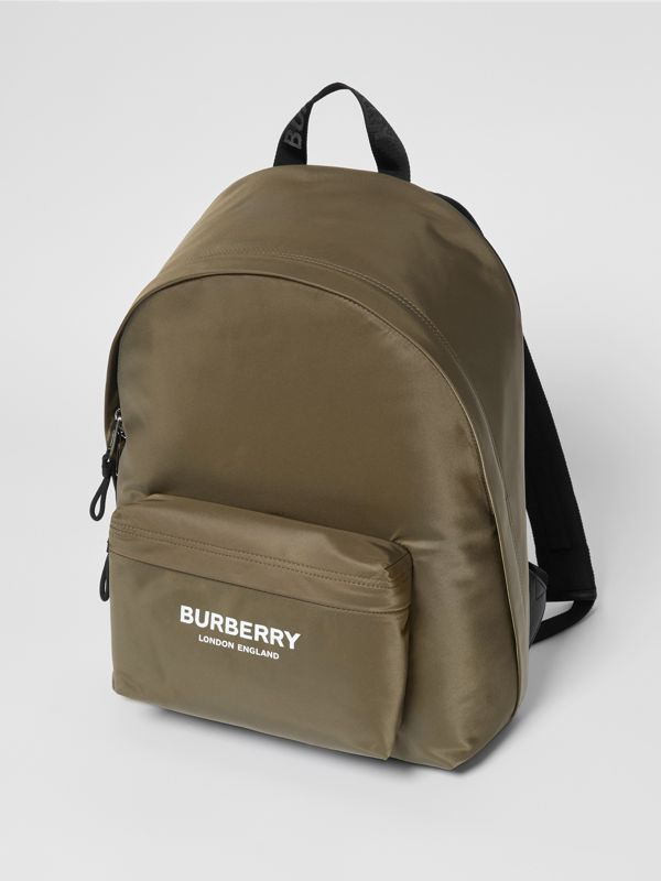 Logo Print Nylon Backpack in Canvas Green | Burberry - cell image 2