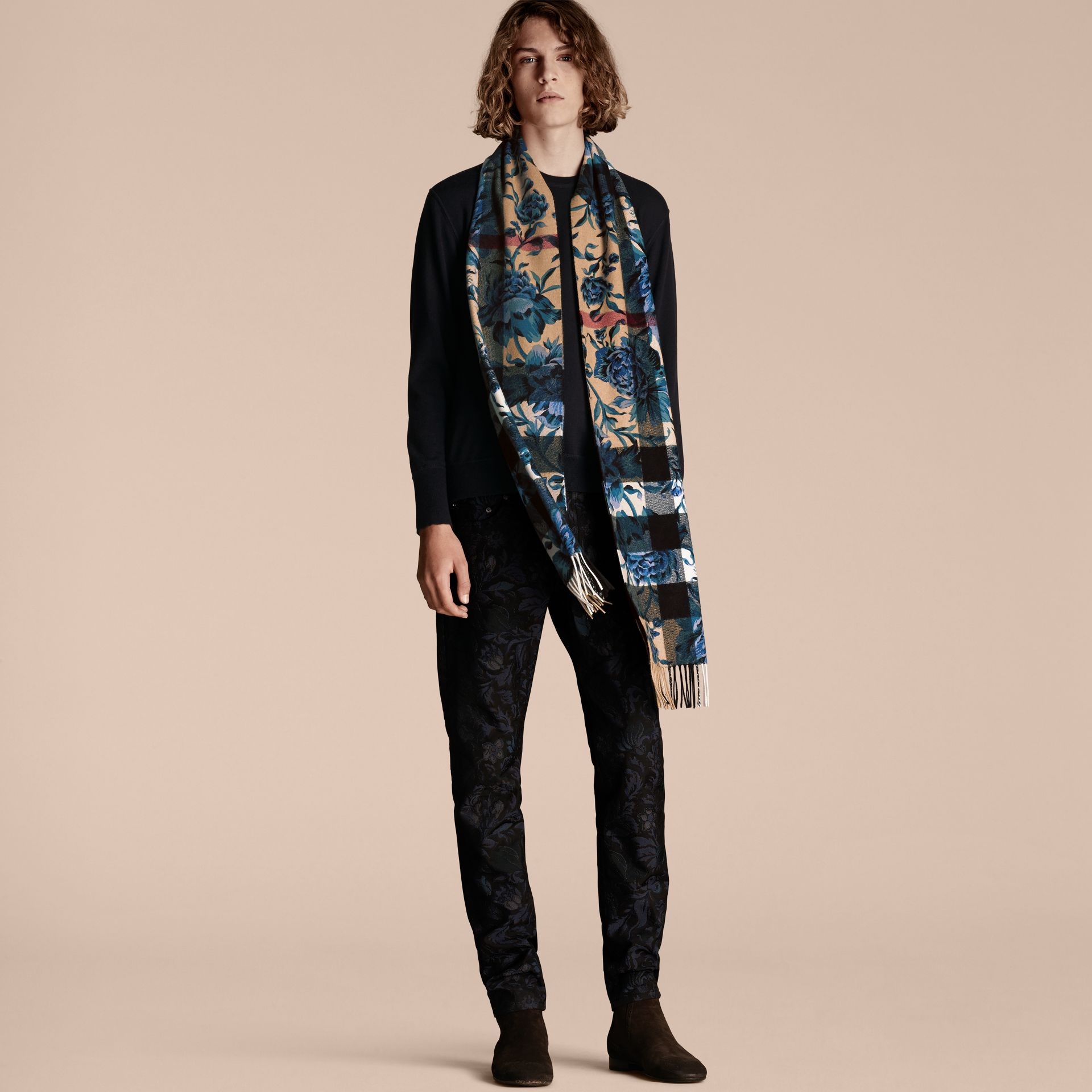 Reversible Floral Print and Check Cashmere Scarf - gallery image 4