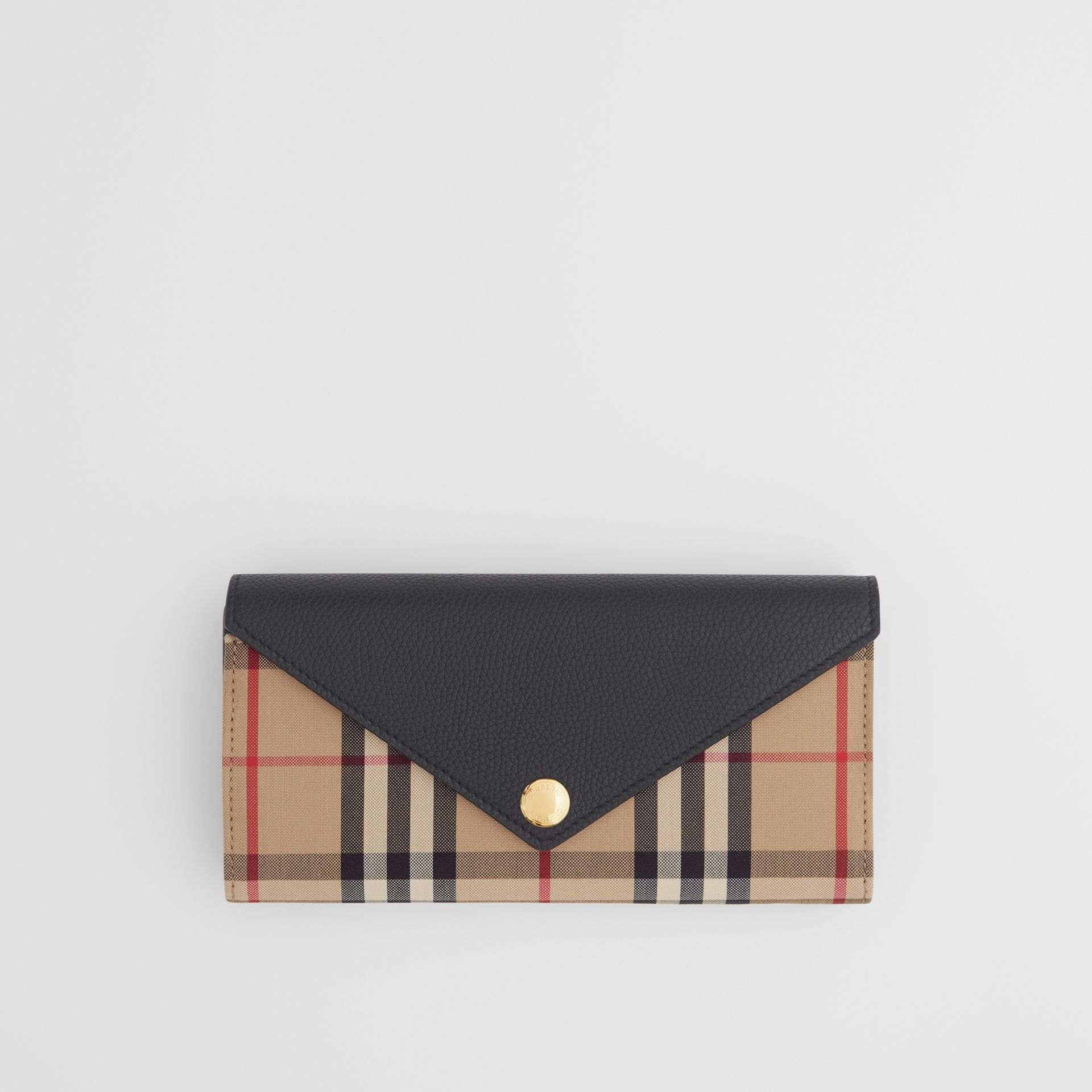 Vintage Check and Leather Continental Wallet in Black - Women | Burberry - gallery image 0