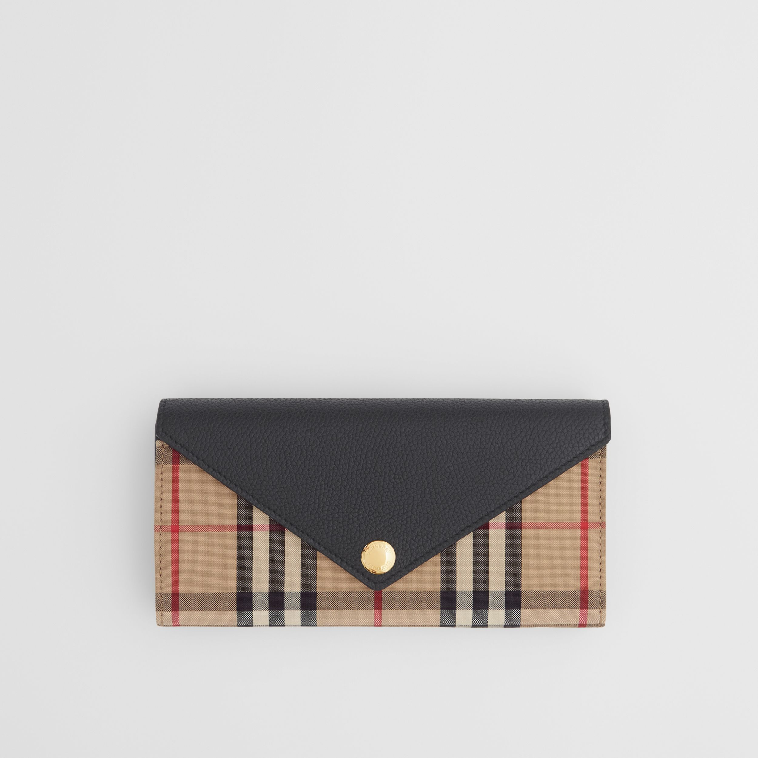 Vintage Check and Leather Continental Wallet in Black - Women | Burberry - 1