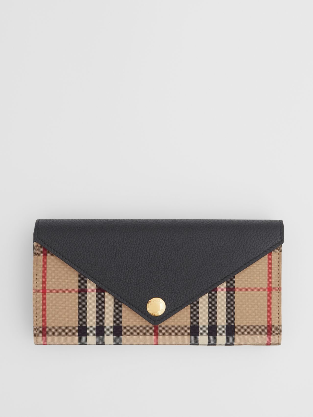Vintage Check and Leather Continental Wallet in Black