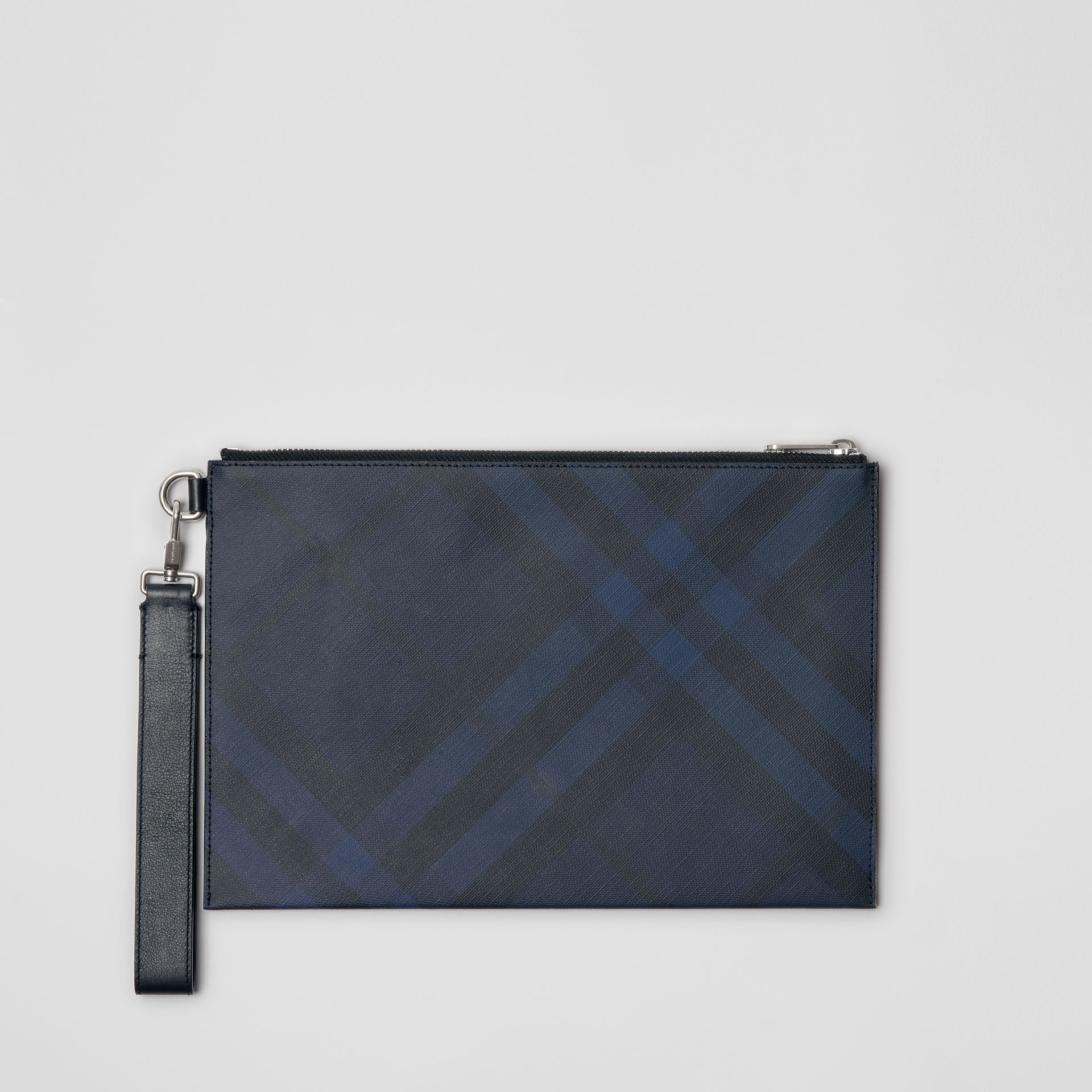 Pochette zippée à motif London check (Marine/noir) - Homme | Burberry - photo de la galerie 0
