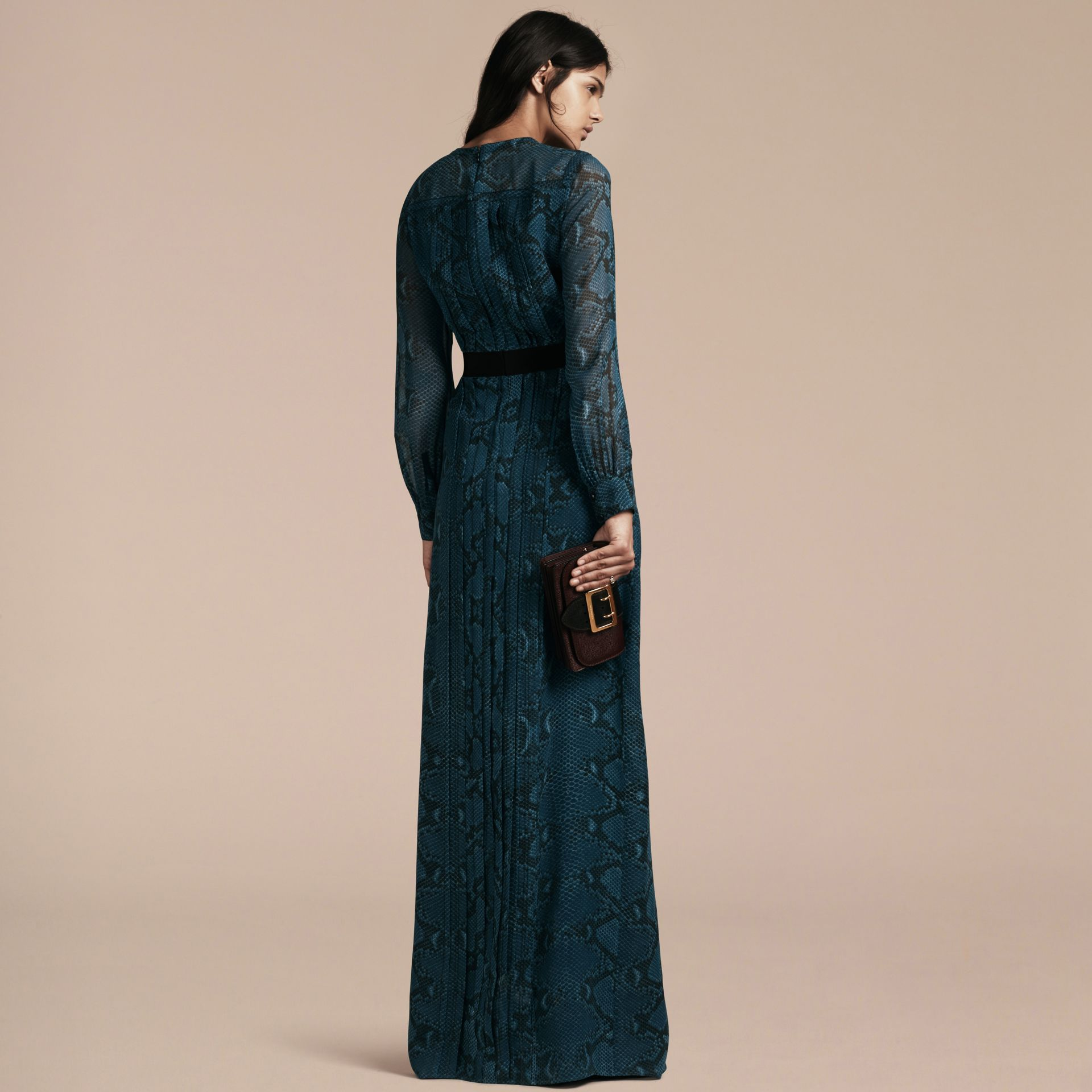 Mineral blue Floor-length Pleat Detail Python Print Silk Dress Mineral Blue - gallery image 3