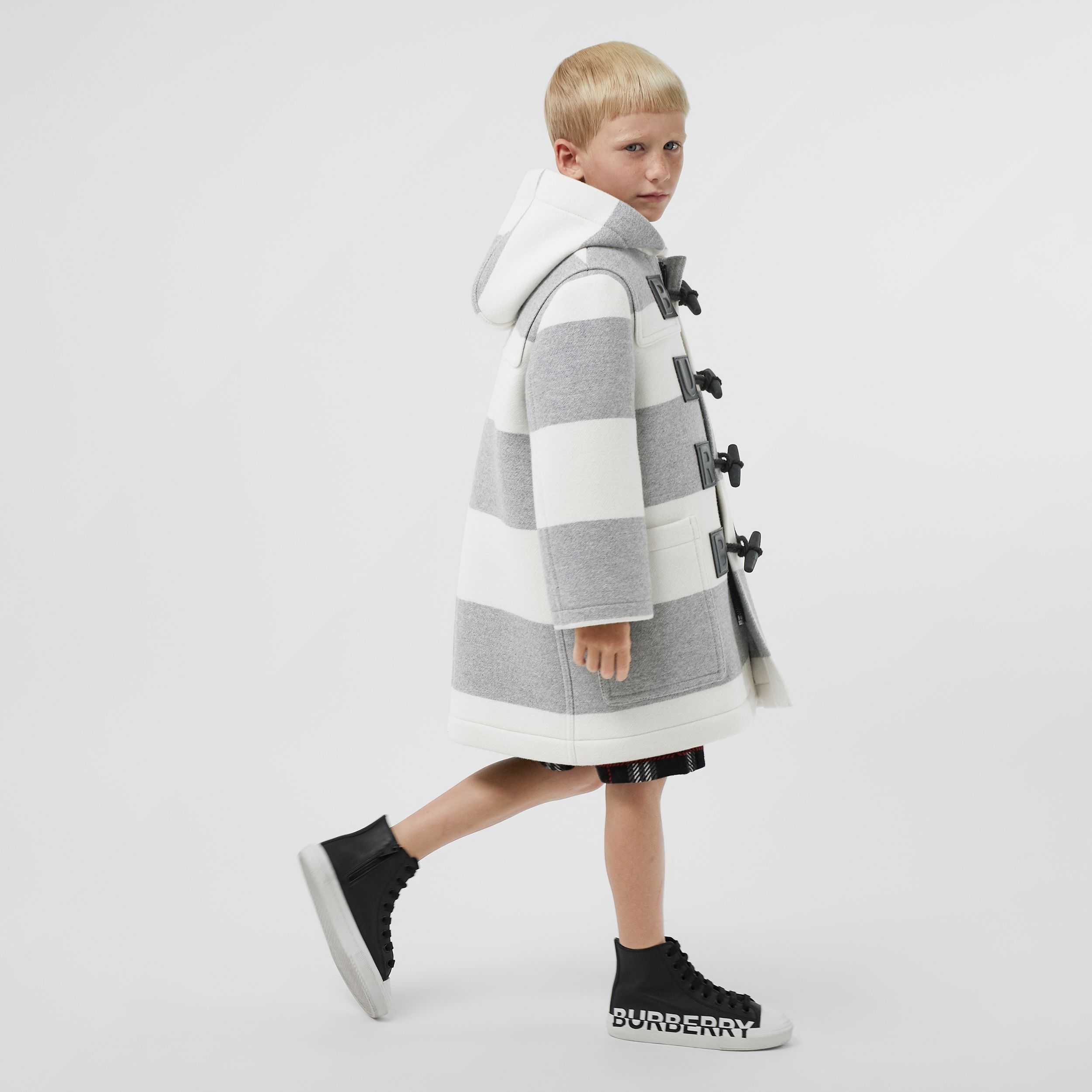 Logo Detail Striped Wool Cashmere Blend Duffle Coat in Grey - Children | Burberry - 4