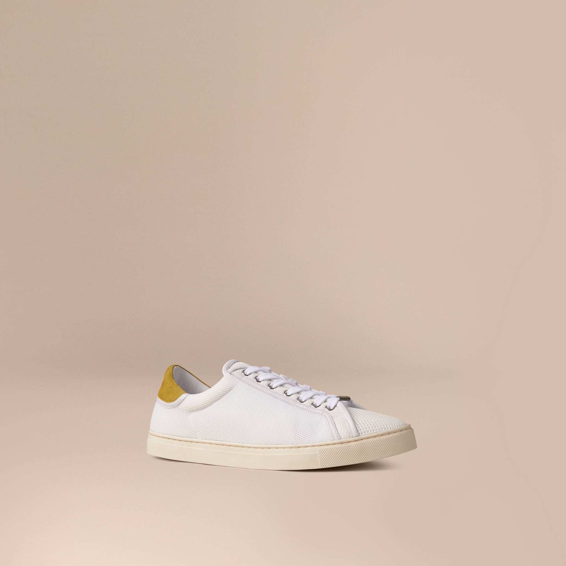 White/mustard yellow Mesh and Leather Trainers White/mustard Yellow - gallery image 1