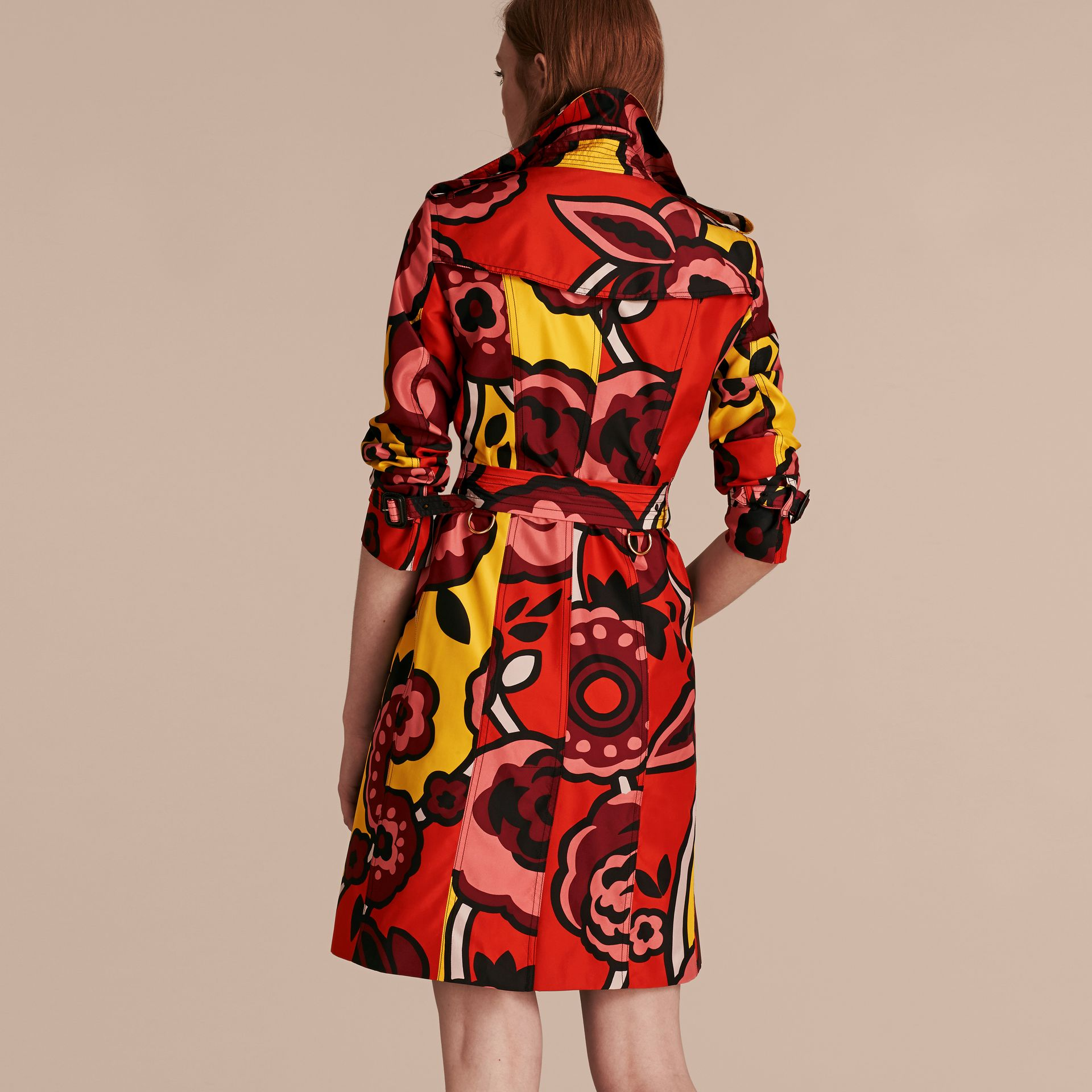 Vibrant orange Floral Print Silk Trench Coat - gallery image 3