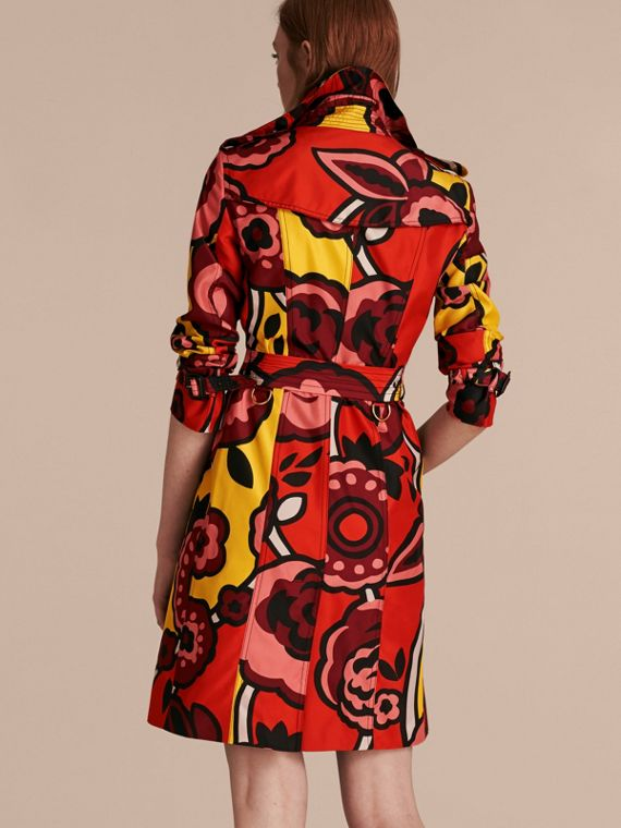 Vibrant orange Floral Print Silk Trench Coat - cell image 2