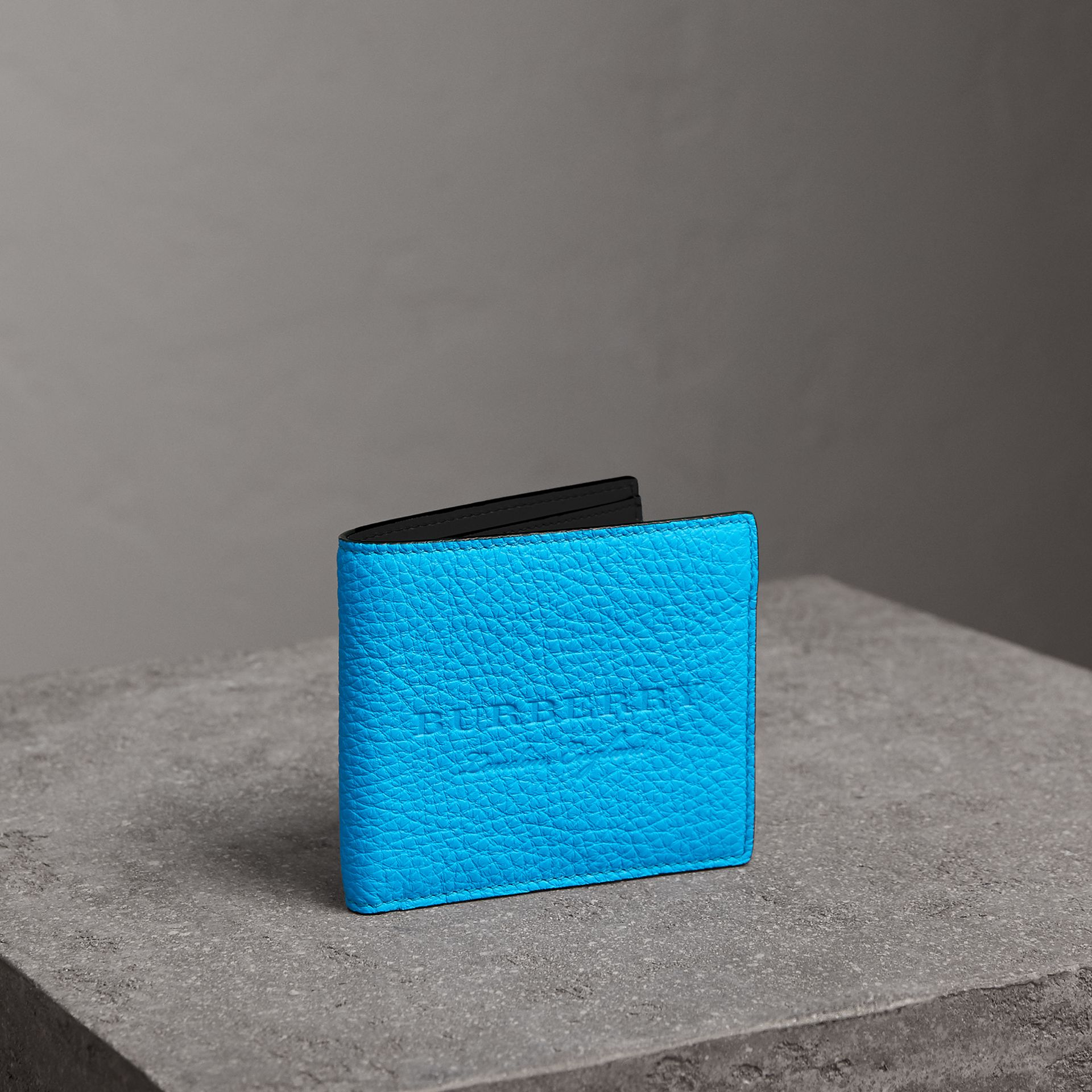 Embossed Leather International Bifold Wallet in Neon Blue - Men | Burberry Singapore - gallery image 0